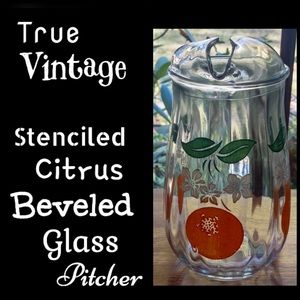 ▪️VTG▪️Stenciled Citrus Beveled Glass Pitcher